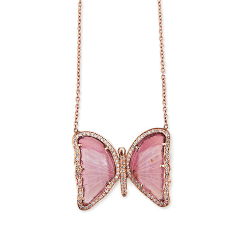 PAVE DIAMOND PINK TOURMALINE BUTTERFLY NECKLACE