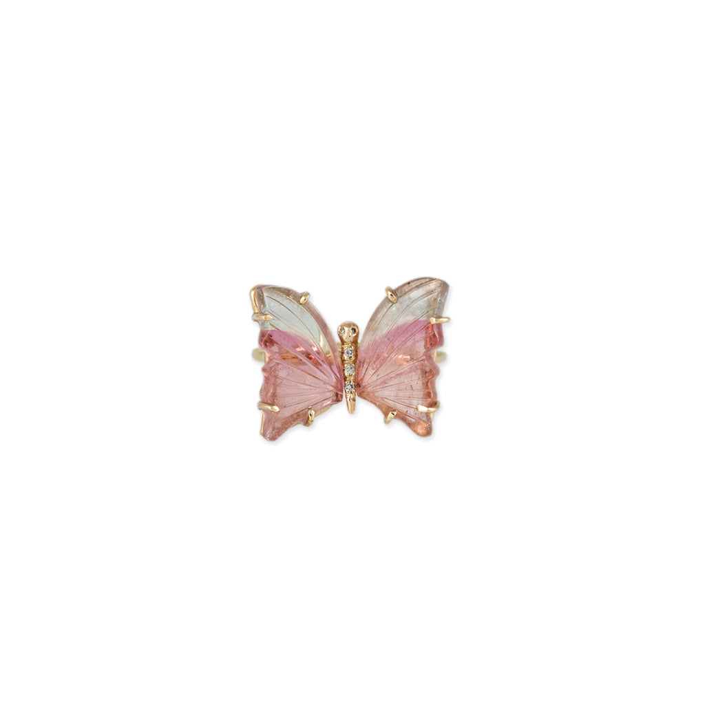 SMALL PINK + LIGHT BLUE TOURMALINE BUTTERFLY RING