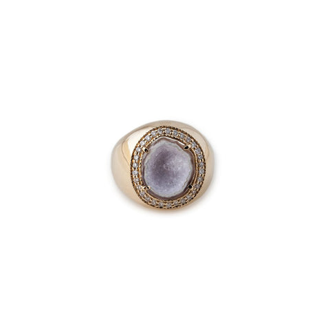 WHITE DRUZY COCKTAIL RING