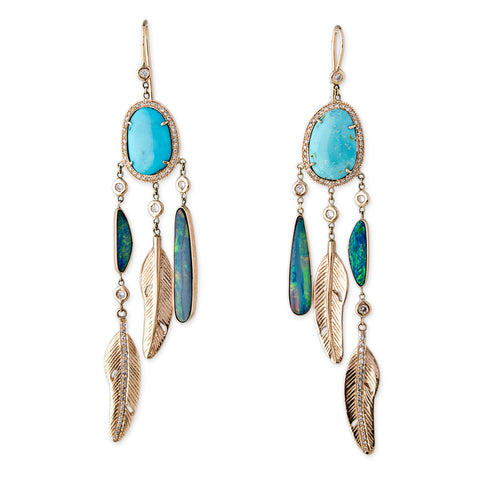 TURQUOISE OPAL SLICE FEATHER SHAKER EARRINGS