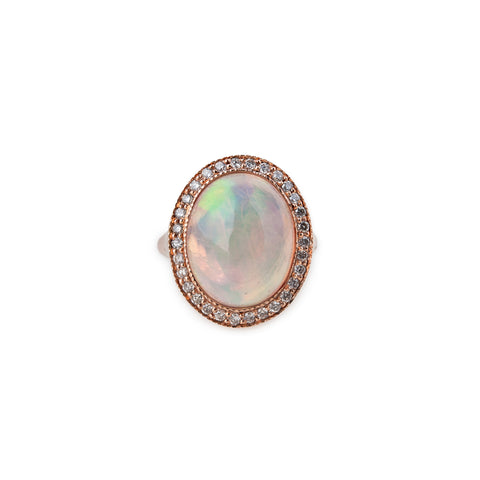 PAVE OVAL OPAL RING