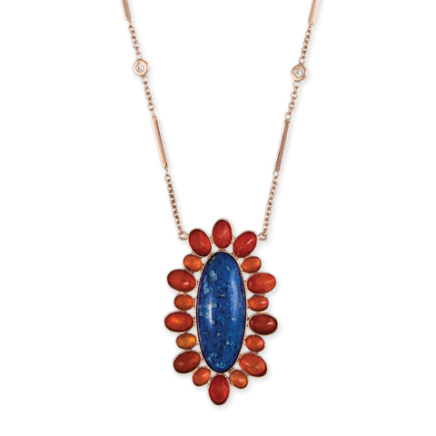 LAPIS + FIRE OPAL BLOSSOM NECKLACE