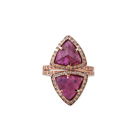 PAVE DOUBLE RUBY TRIANGLE STACK RING