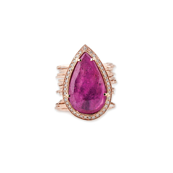 FULL PAVE RUBY TEARDROP MULTI WAIF RING