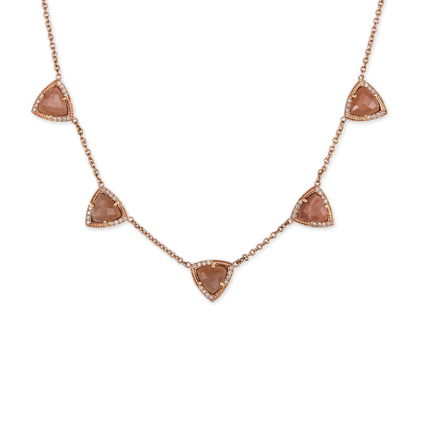 5 SPACED OUT MINI SUNSTONE PYRAMID NECKLACE
