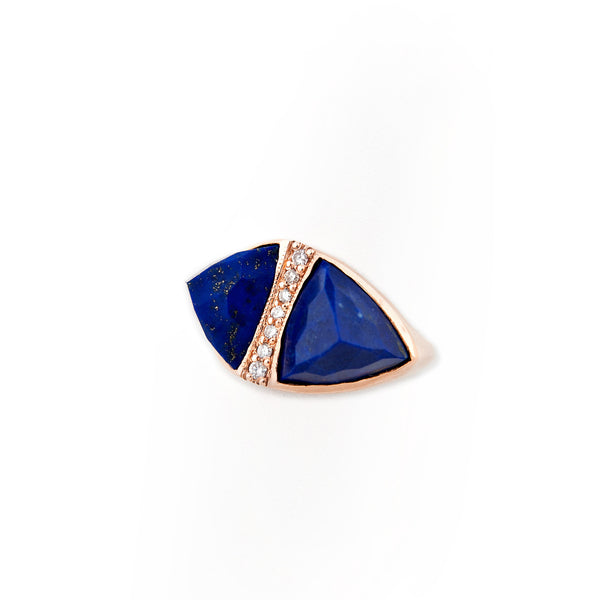 LAPIS DOUBLE PYRAMID TRIANGLE RING