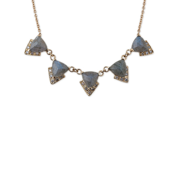 LABRADORITE PAVE CHEVRON NECKLACE