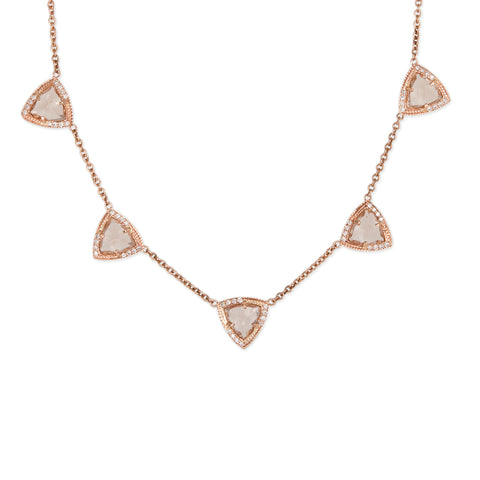 5 SPACED OUT MINI MORGANITE PYRAMID NECKLACE