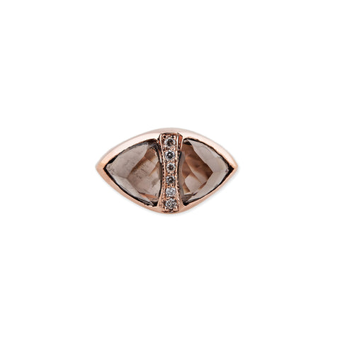 SMOKEY TOPAZ DOUBLE PYRAMID TRIANGLE RING