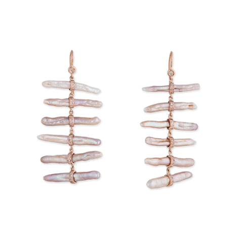 PAVE DIAMOND MOTHER OF PEARL LADDER EARRINGS