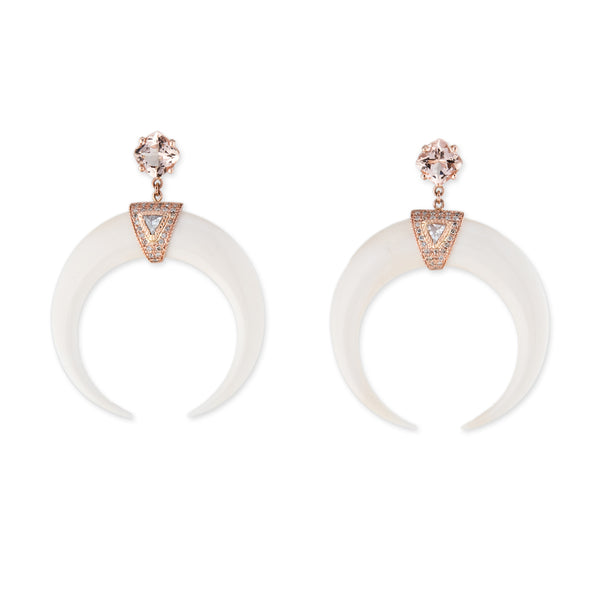 MORGANITE PAVE DOUBLE BONE HORN EARRINGS