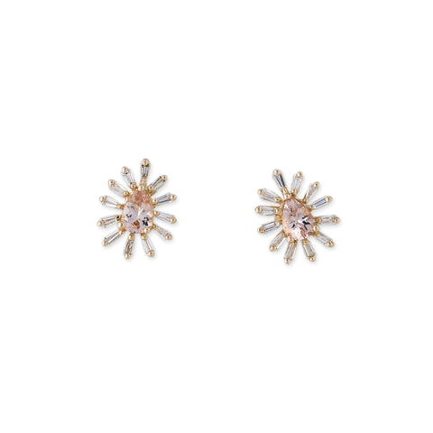 TEARDROP MORGANITE DIAMOND BAGUETTE BORDER STUDS
