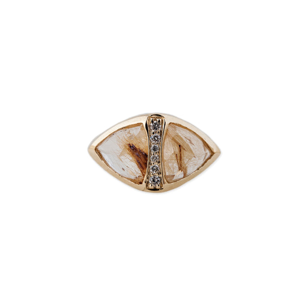 PAVE CENTER DOUBLE RUTILATED QUARTZ PYRAMID RING