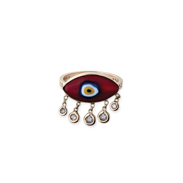MARQUISE RED CERAMIC EYE SHAKER RING