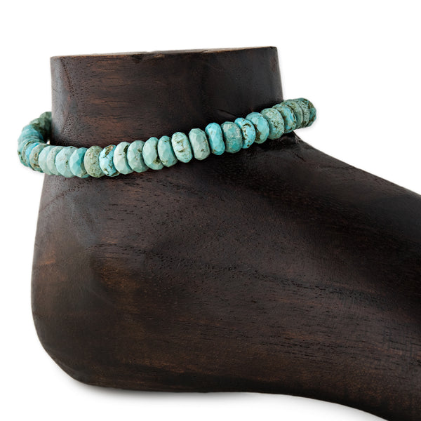 FACETED LIGHT TURQUOISE BEAD ANKLET