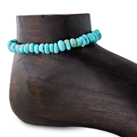 CHUNKY TURQUOISE BEAD ANKLET