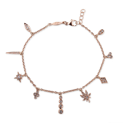 DIAMOND MULTI CHARM SHAKER ANKLET
