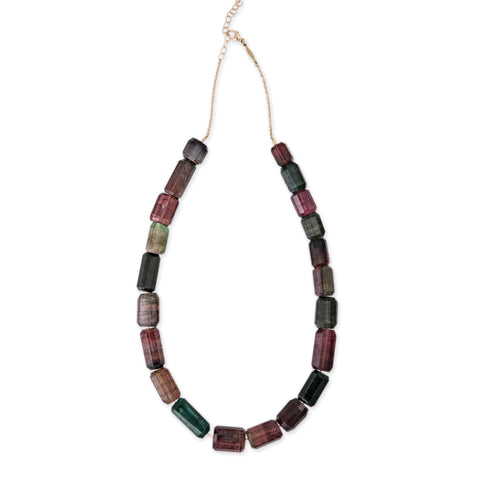 MULTI-COLORED TOURMALINE BEADED NECKLACE