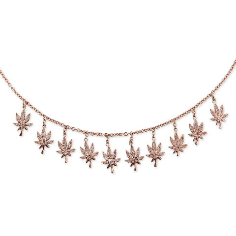PAVE SWEET LEAF SHAKER NECKLACE