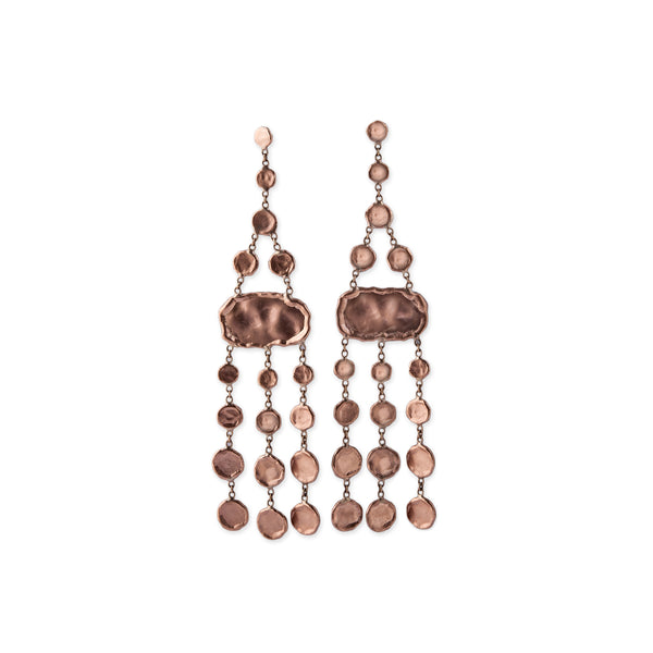 HAMMERED DISC CHANDELIER EARRINGS