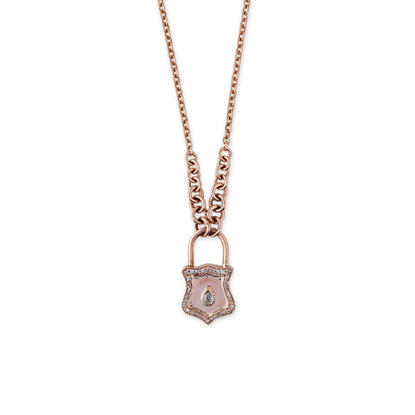 DIAMOND TEARDROP LOCK NECKLACE