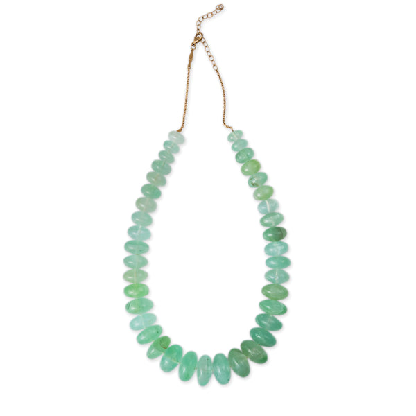 GRADUATED SMOOTH CHRYSOPRASE BEADED NECKLACE