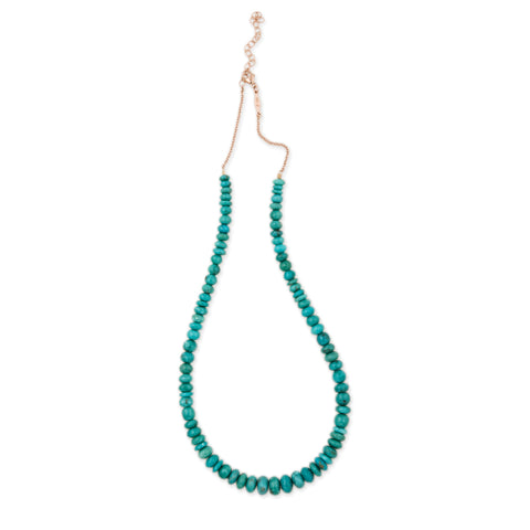 SMALL GRADUATED SMOOTH TURQUOISE BEADED NECKLACE