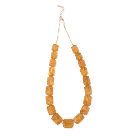 GRADUATED SMOOTH BRAZILIAN CITRINE BEADED NECKLACE