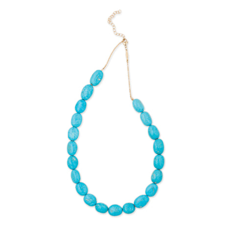 SMOOTH OVAL TURQUOISE BEADED NECKLACE