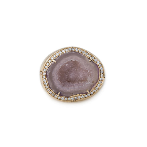 PAVE DIAMOND PURPLE GEODE DRUZY SIGNET RING