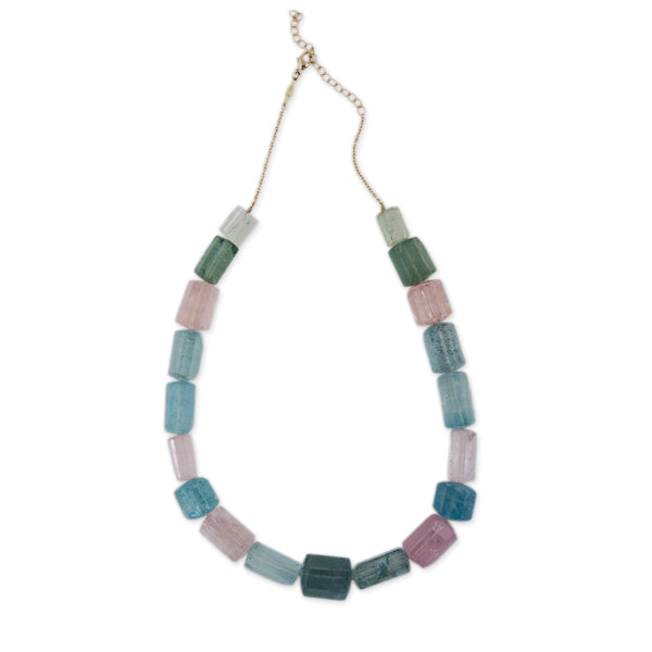 GRADUATED MULTI-COLOR BERYL BEADED NECKLACE