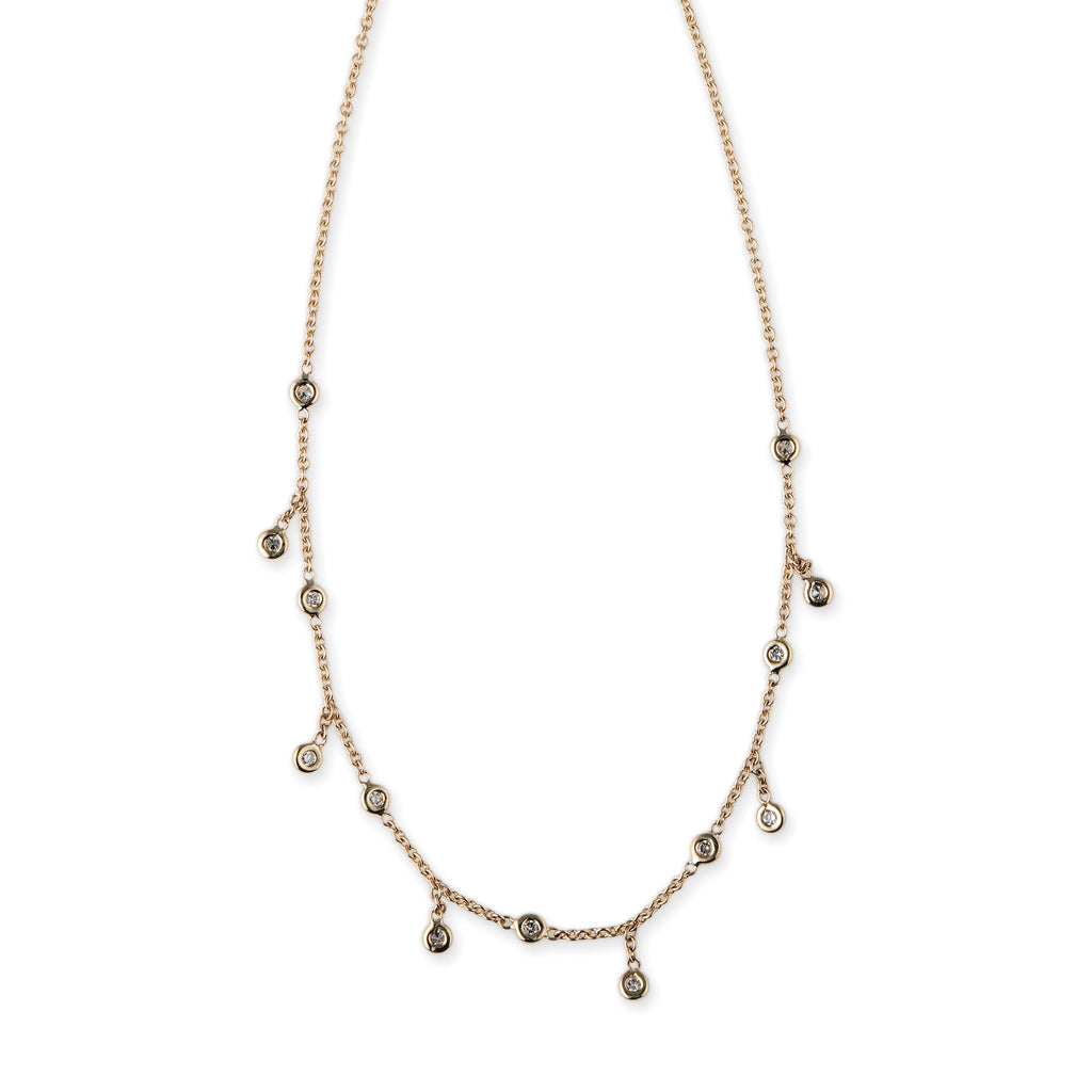 SPACED OUT DIAMOND HALF SHAKER NECKLACE