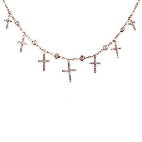 7 PAVE CROSS 6 DIAMOND SHAKER NECKLACE