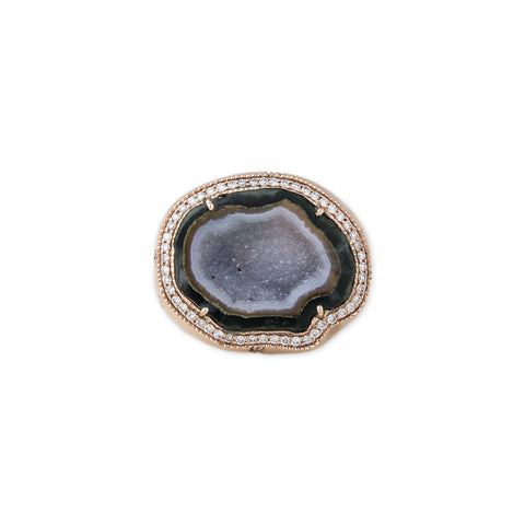 PAVE DIAMOND GREEN GEODE DRUZY SIGNET RING