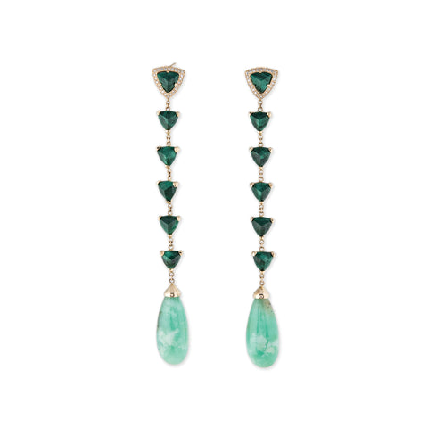 PAVE DIAMOND 5 MALACHITE TRILLION CHRYSOPRASE DROP STUD EARRINGS