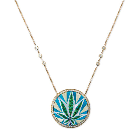 PAVE HALO TURQUOISE OPAL INLAY SWEET LEAF NECKLACE