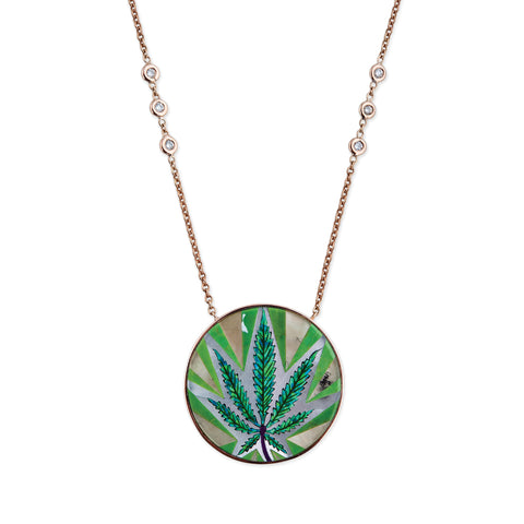 OPAL SWEET LEAF INLAY NECKLACE