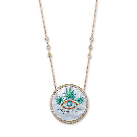 PAVE EYE SWEET LEAF CROWN INLAY NECKLACE