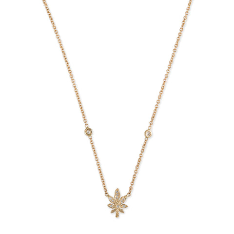PAVE SWEET LEAF 2 DIAMOND CHAIN NECKLACE