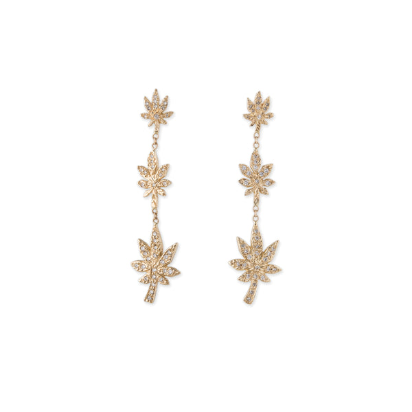 3 GRADUATED SWEET LEAF DROP EARRINGS