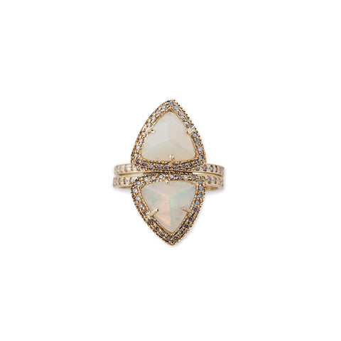 OPAL TRIANGLE PYRAMID STACK RING