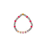 ZOE AICHE TWO-TONE STRIPE HEISHI BEADED WORD BRACELET