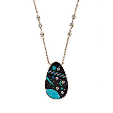 TEARDROP DIAMOND GALAXY INLAY NECKLACE