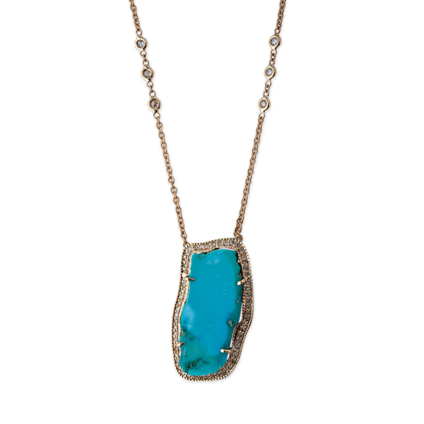LONG FREEFORM TURQUOISE NECKLACE