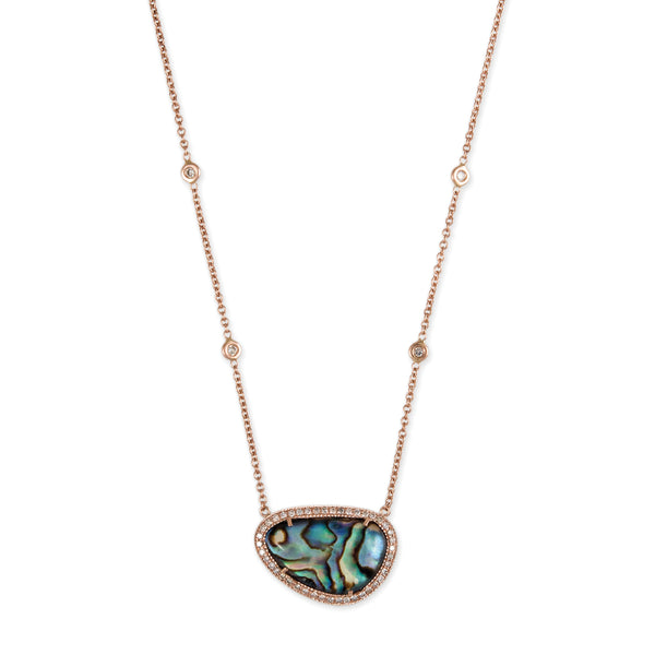 PAVE DIAMOND FREEFORM ABALONE NECKLACE
