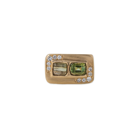 PAVE DIAMOND GREEN TOURMALINE BAGUETTE SIGNET RING