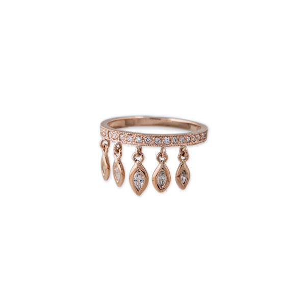 PAVE BAND 5 MARQUISE SHAKER RING