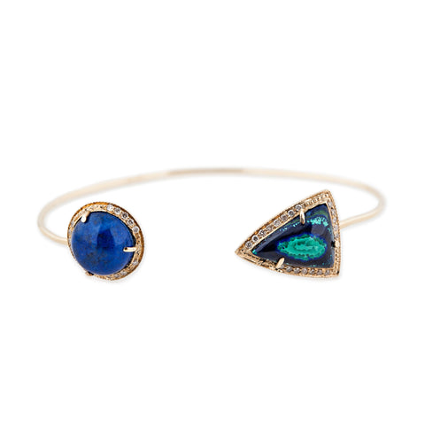 LAPIS DOME AND TURQUOISE TRIANGLE CUFF