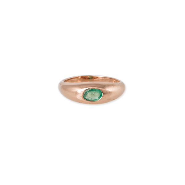 EMERALD CENTER DOME RING