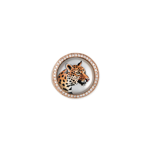 PAVE DIAMOND LEOPARD MOTHER OF PEARL SIGNET RING